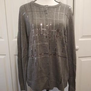 Christopher Banks Grey Button Down Sweater Size M